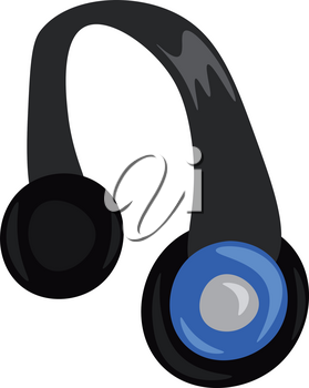 A modern wireless over the ear headphones in black and blue color vector color drawing or illustration