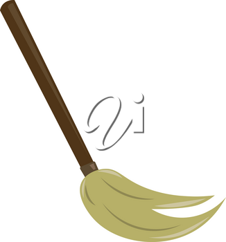 A hand held long mopping brush used for cleaning purpose vector color drawing or illustration