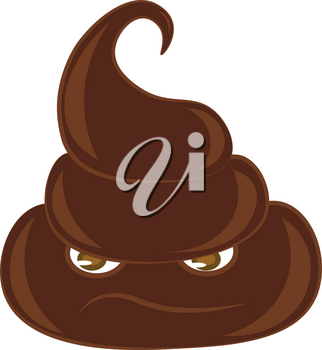 A pile of brown poop with sad face vector color drawing or illustration