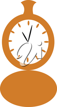 A vintage yellow pocket watch is showing time vector color drawing or illustration