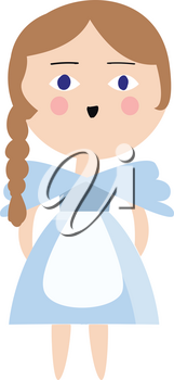 Alice in a blue dress illustration color vector on white background
