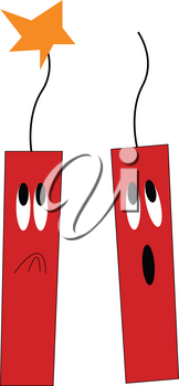 Two red rectangular dynamites one with the spark of fire has a sad expression and the other has a surprised one vector color drawing or illustration