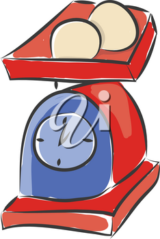 A red and blue colored cute weighing machine with two objects on it vector color drawing or illustration
