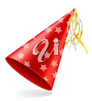 happy birthday cap with ribbon stock vector illustration isolated on white background