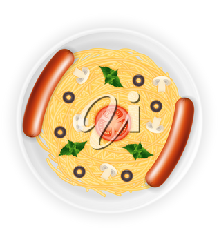 cooked macaroni pasta spaghetti and sausages on a plate with vegetables stock vector illustration isolated on white background
