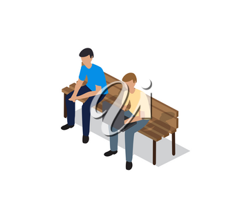 People sitting on a bench in a city park