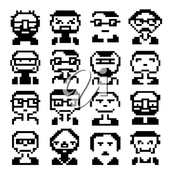 Faces icons in style pixel graphics pictogram of male and fun people female faces