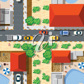 Top view of the seamless pattern landscape city. Urban crossroads with cars and houses, pedestrians. Background town map pattern streets, intersection roof and buildings.