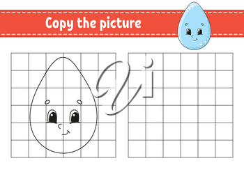 Cute drop. Copy the picture. Coloring book pages for kids. Education developing worksheet. Game for children. Handwriting practice. Funny character. Cute cartoon vector illustration.