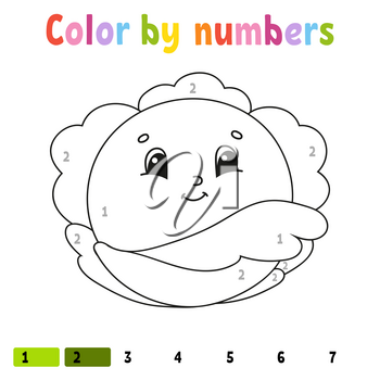 Color by numbers cabbage. Coloring book for kids. Vegetable character. Vector illustration. Cute cartoon style. Hand drawn. Worksheet page for children. Isolated on white background.