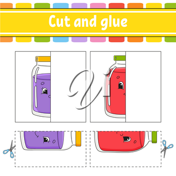 Cut and play. Paper game with glue. Flash cards. Color puzzle. Education developing worksheet. Activity page. For children. Funny character. Isolated vector illustration. Cartoon style.
