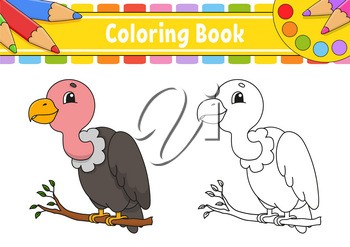 Coloring book for kids. Cheerful character. Vector color illustration. Cute cartoon style. Fantasy page for children. Black contour silhouette. Isolated on white background.