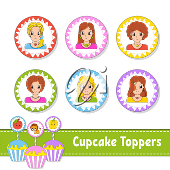 Cupcake Toppers. Set of six round pictures. Beautiful smile girls. Cartoon characters. Cute image. For birhday, party, baby shower.