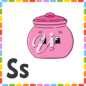 English alphabet. Letter S - sugar bowl. ABC square flash cards. Cartoon character isolated on white background. For kids education. Developing worksheet. Learning letters. Color vector illustration.