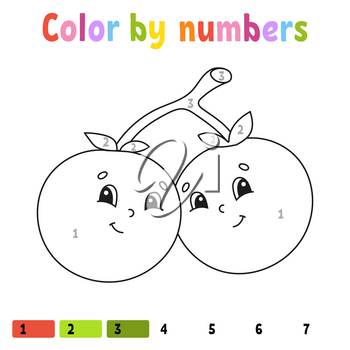Color by numbers. Coloring book for kids. Vector illustration. Cartoon character. Hand drawn. Worksheet page for children. Isolated on white background.