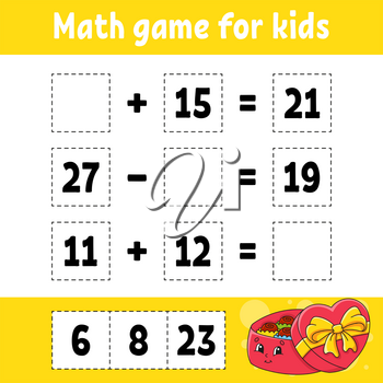 Math game for kids. Education developing worksheet. Activity page with pictures. Game for children. Valentine's Day. Color isolated vector illustration. Funny character. Cartoon style.
