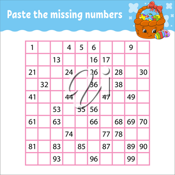 Paste the missing numbers from 1 to 100. Handwriting practice. Learning numbers for kids. Education developing worksheet. Game for children. Isolated vector illustration in cute cartoon style.
