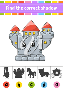 Find the correct shadow. Education developing worksheet. Activity page. Color game for children. Isolated vector illustration. Cartoon character.
