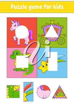 Puzzle game for kids. Cut and paste. Cutting practice. Learning shapes. Education worksheet. Circle, square, rectangle, triangle. Activity page.Cartoon character.