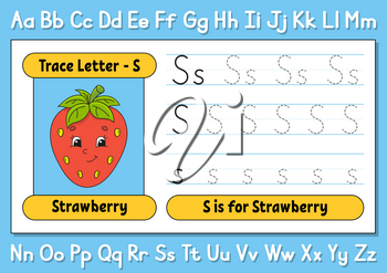 Trace letters. Writing practice. Tracing worksheet for kids. Learn alphabet. Cute character. Vector illustration. Cartoon style.
