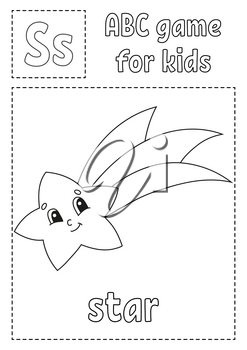 Letter S is for star. ABC game for kids. Alphabet coloring page. Cartoon character. Word and letter. Vector illustration.