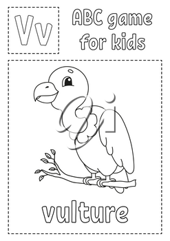 Letter V is for vulture. ABC game for kids. Alphabet coloring page. Cartoon character. Word and letter. Vector illustration.