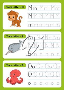 Writing letters. Tracing page. Practice sheet. Worksheet for kids. exercise for preschools. Learn alphabet. Cute characters. Vector illustration. Cartoon style.