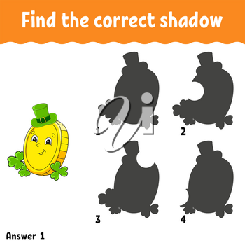 Find the correct shadow. Education developing worksheet. Matching game for kids. Activity page. Puzzle for children. Cartoon character. Isolated vector illustration. St. Patrick's day.