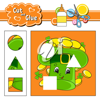 Cut and glue. Game for kids. Education developing worksheet. Cartoon character. Color activity page. Hand drawn. Isolated vector illustration. St. Patrick's day.