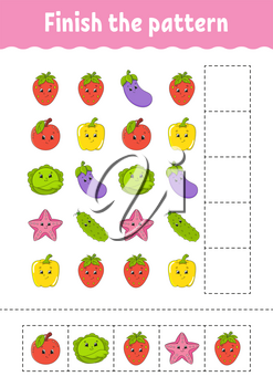 Finish the pattern. Cut and play. Fruits and vegetables. Education developing worksheet. Activity page.Cartoon character.