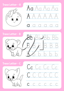 Writing letters. Tracing page. Worksheet for kids. Practice sheet. Learn alphabet. Cute characters. Vector illustration. Cartoon style.