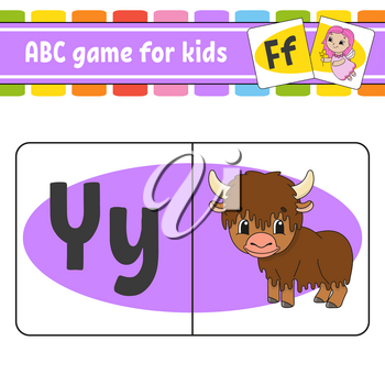 ABC flash cards. Animal yak. Alphabet for kids. Learning letters. Education worksheet. Activity page for study English. Color game for children. Isolated vector illustration. Cartoon style.