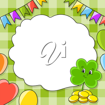 Festive color vector illustration with empty place for text. Clover with coins. Cartoon character, balloons, garlands. For the design of greeting cards, birthdays, stickers. St. Patrick's day.
