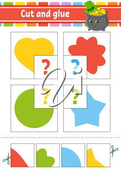 Cut and glue. Set flash cards. Education worksheet. Activity page. Game for children. Circle, star, heart, flower. Cartoon character. Isolated vector illustration.
