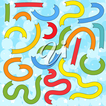 Set of flat colored isolated ribbons. Suitable for design.