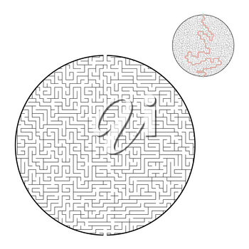 Difficult big maze. Game for kids and adults. Puzzle for children. Labyrinth conundrum. Find the right path. Flat vector illustration.