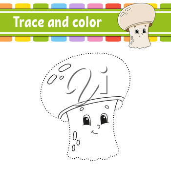 Trace and color. Coloring page for kids. Handwriting practice. Education developing worksheet. Activity page. Game for toddler and preschoolers. Isolated vector illustration. Cartoon style.