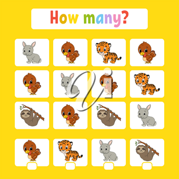 Counting game for children of preschool age. Learning mathematics. How many animals in the picture. With space for answers. Simple flat isolated vector illustration in cute cartoon style