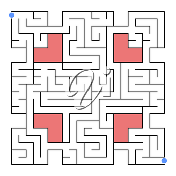 Abstract isolated labyrinth of unusual shape. An interesting and useful game for children and adults. Simple flat vector illustration. With inserts from hearts.