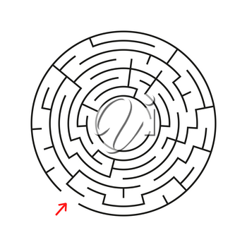 Round labyrinth. With the entrance and exit. An interesting game for children and adults. Simple flat vector illustration isolated on white background.