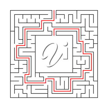 A square labyrinth with an entrance and an exit. Simple flat vector illustration isolated on white background. With a place for your drawings. With the answer.