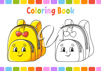 Coloring book for kids. Back to school theme. Cartoon character. Vector illustration. Fantasy page for children. Black contour silhouette. Isolated on white background.