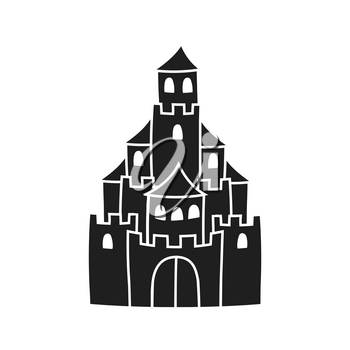 Fairytale castle. Black silhouette. Design element. Vector illustration isolated on white background. Template for books, stickers, posters, cards, clothes.