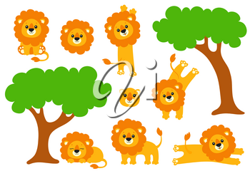 Cute lion set. Wild animal. Cartoon character. Colorful vector illustration. Isolated on white background. Design element. Template for your design, books, stickers, cards.