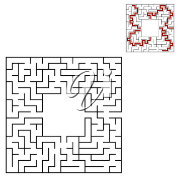 Black square maze with entrance and exit. An interesting and useful game for children. Simple flat vector illustration isolated on white background. With a place for your drawings. With the answer