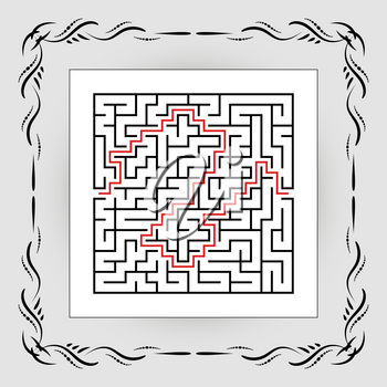 Abstract square maze in vintage frame. Game for kids. Puzzle for children. One entrances, one exit. Labyrinth conundrum. Flat vector illustration isolated on white background. With answer.